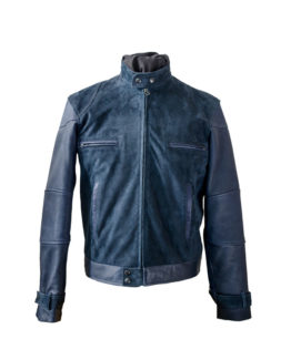 Mens Blue Leather Jacket