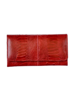 RED OSTRICH LEATHER PURSE